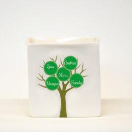Handgemaakt porseleinen theelicht met mini stamboompje