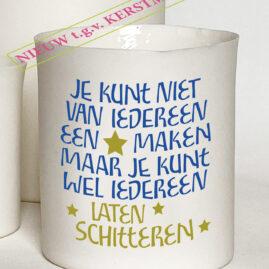 Handgemaakt porseleinen theelichtje met tekst voor kerstmis