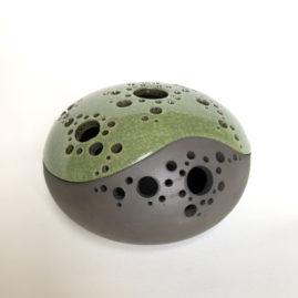 Raku theelicht olijfgroen